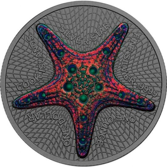 Cook Islands Starfish Silver Star Hologramm