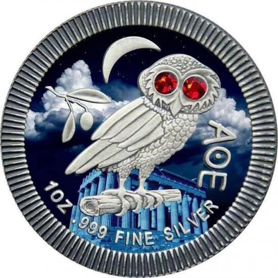 Athenian Owl Acropolis Swarovski Crystals Red Eyes