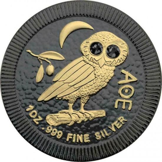 Athenian Owl Ruthenium - Gilded Swarovski Crystals Black Eyes