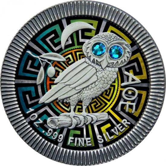 Niue 2020 2$ Athenian Owl Ornament 1 Oz 999 Silver Coin with Swarovski Crystals