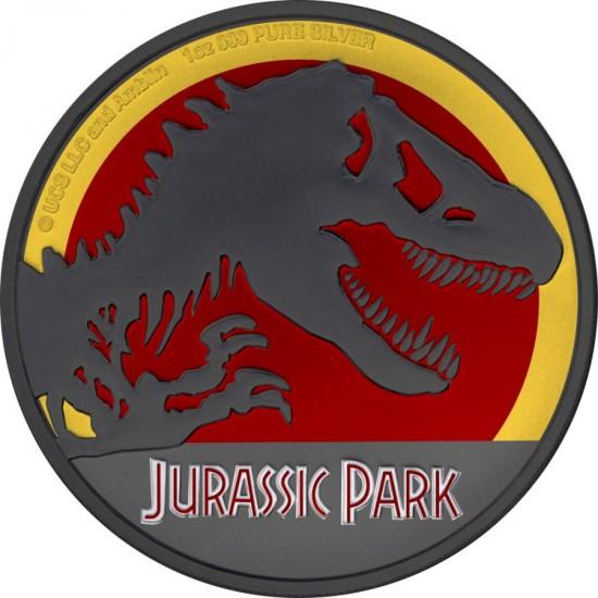 Niue 2020 2$ Jurassic Park 25th Anniversary Coloured Ruthenium 1 Oz Silver Coin