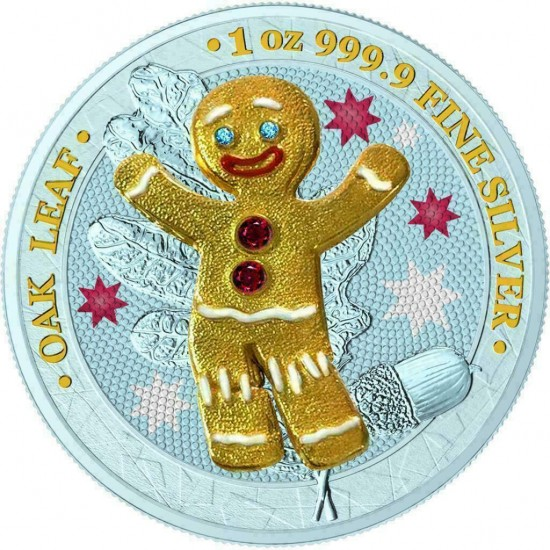Germania 2019 5 Mark Bejeweled Gingerbread Boy 1 Oz 999 Silver Coin