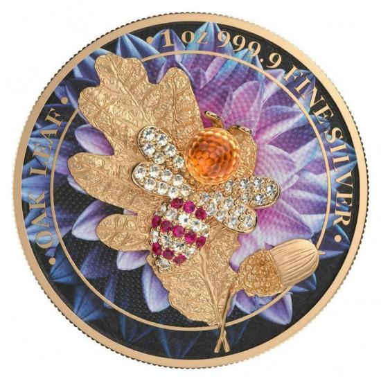 Germania 2019 5 Mark Oak Leaf Bejeweled Bee 1 Oz 999 Silver Coin