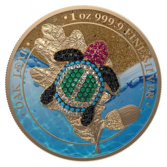 Germania 2019 5 Mark Oak Leaf Bejeweled Tortoise 1 Oz 999 Silver Coin
