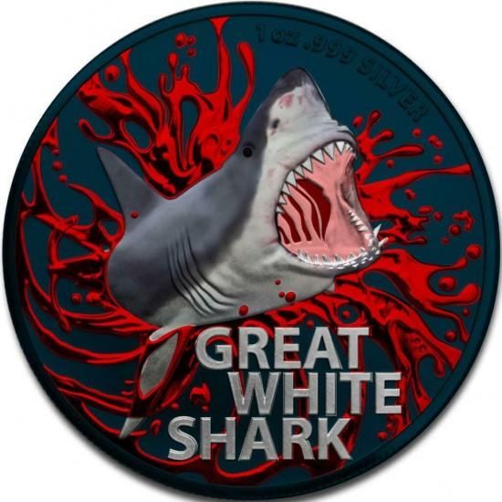 Australia 2021 1$ Great White Shark Bloody 1 Oz 999 Silver Coin