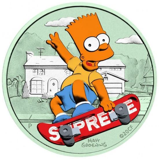 Tuvalu 2020 1$ Bart Simpson Supreme 1 Oz 999 Silver Coin