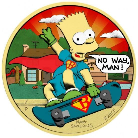 Tuvalu 2020 1$ Bart Simpson Superman 1 Oz 999 Silver Coin