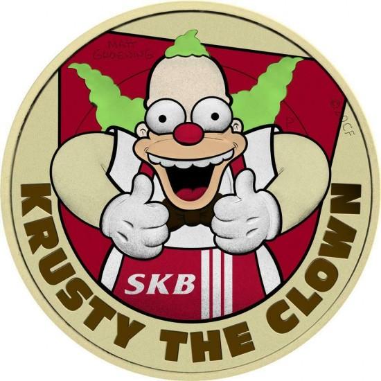 Tuvalu 2020 1$ The Clown Krusty Springfield Burger 1 Oz 999 Silver Coin