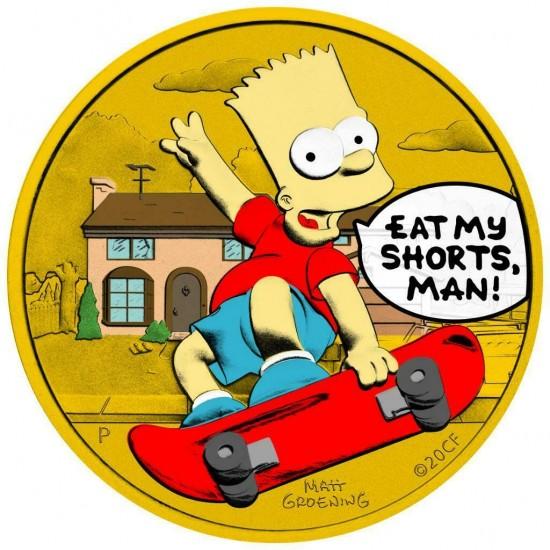 Tuvalu 2020 1$ Bart Simpson Eat My Shorts Man 1 Oz 999 Silver Coin