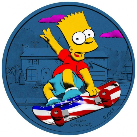 Tuvalu 2020 1$ Bart Simpson Patriot 1 Oz 999 Silver Coin