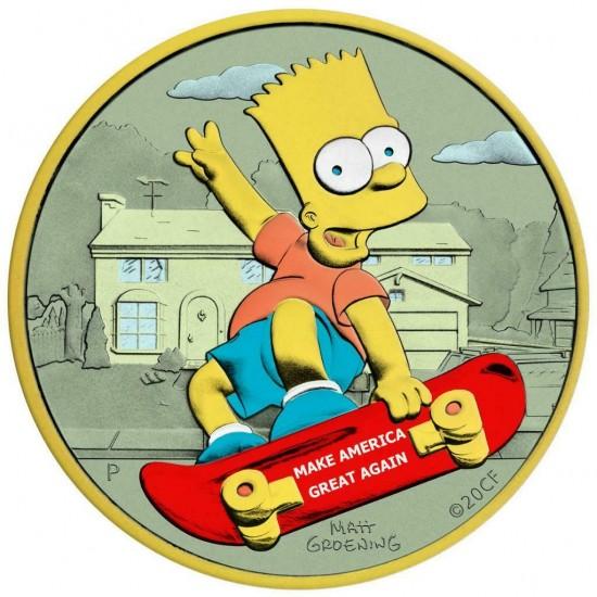 Tuvalu 2020 1$ Bart Simpson Make America Great Again 1 Oz 999 Silver Coin