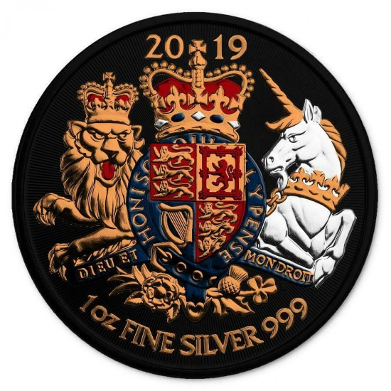 UK 2019 2£ Royal Arms Lion King And Unicorn Gilded 1 Oz 999 Silver Coin