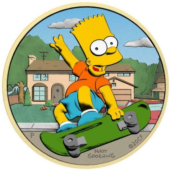 Tuvalu 2020 1$ Bart Simpson Sweet Home 1 Oz 999 Silver Coin