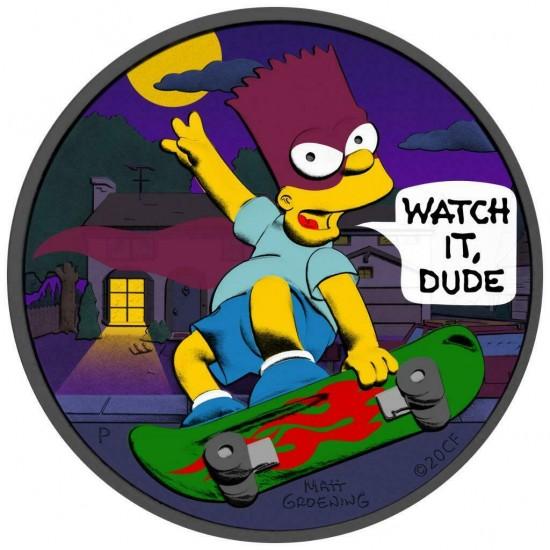 Tuvalu 2020 1$ Bart Simpson Batman 1 Oz 999 Silver Coin