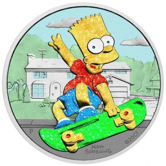 Tuvalu 2020 1$ Bart Simpson Diamond Dust 1 Oz 999 Silver Coin