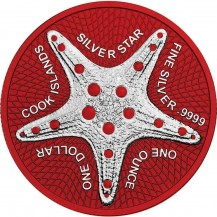 Cook Islands Starfish Silver Star Space Red