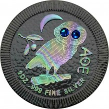 Athenian Owl Ruthenium Hologram Swarovski Crystals Blue Eyes