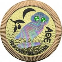 Athenian Owl Hologram Gold Swarovski Crystals Green Eyes