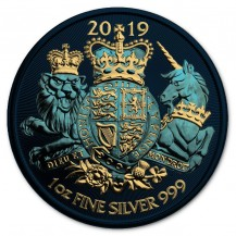 UK 2019 2£ Royal Arms Lion King And Unicorn Metellic Blue 1 Oz 999 Silver Coin