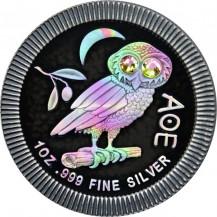 Niue 2020 2$ Athenian Owl Ruthenium Holo 1Oz Silver Coin with Swarovski Crystals
