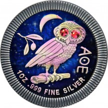 Niue 2020 2$ Athenian Owl Night Sky 1 Oz 999 Silver Coin with Swarovski Crystals