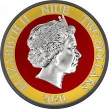 Niue 2020 2$ Jurassic Park 25th Anniversary Coloured 1 Oz 999 Silver Coin 55 pcs