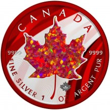 Canada 2020 $5 Maple Leaf Red Opal 1 Oz 999 Silver Coin with Real Stone