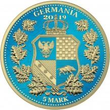 Germania 2019 5 Mark Columbia Space Blue Gilded 1 Oz 999 Silver Coin