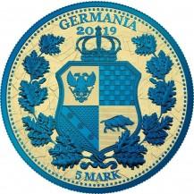 Germania 2019 5 Mark Columbia Gilded Blue Gold 1 Oz 999 Silver Coin