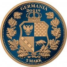 Germania 2019 5 Mark Columbia Dark Blue Gilded 1 Oz 999 Silver Coin