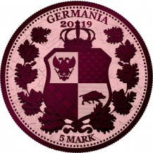 Germania 2019 5 Mark Columbia Rose Gold Maroon 1 Oz 999 Silver Coin