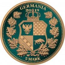Germania 2019 5 Mark Columbia Green Gold Gilded 1 Oz 999 Silver Coin
