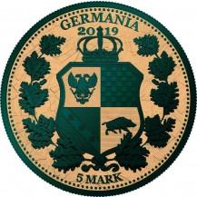 Germania 2019 5 Mark Columbia Gilded Green Gold 1 Oz 999 Silver Coin