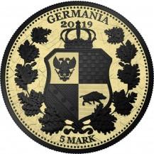 Germania 2019 5 Mark Columbia Gilded Black Varnish 1 Oz 999 Silver Coin