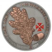 Germania 2019 5 Mark Oak Leaf Red Crystal Cross 1 Oz 999 Silver Coin