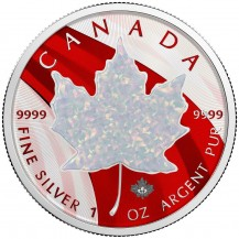 Canada 2020 $5 Maple Leaf Metallic 1 Oz 999 Silver Coin with Real White Stone