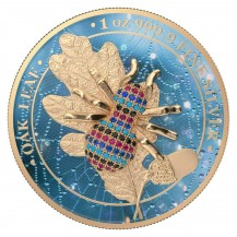 Germania 2019 5 Mark Oak Leaf Bejeweled Spider 1 Oz 999 Silver Coin