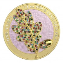 Germania 2019 5 Mark Bejeweled Oak Leaf Yellow 1 Oz 999 Silver Coin
