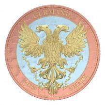 Germania 2019 5 Mark Bejeweled Oak Leaf Pink 1 Oz 999 Silver Coin