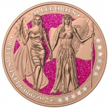 Germania 2019 10 Mark The Allegories Columbia Gilded Pink 2 Oz 999 Silver Coin