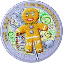 Germania 2019 5 Mark Bejeweled Gingerbread Crazy Daddy 1 Oz 999 Silver Coin
