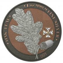 Germania 2019 5 Mark Oak Leaf White Crystal Cross 1 Oz 999 Silver Coin