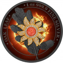Germania 2019 5 Mark Oak Leaf Bejeweled Sun 1 Oz 999 Silver Coin Only 100 pcs